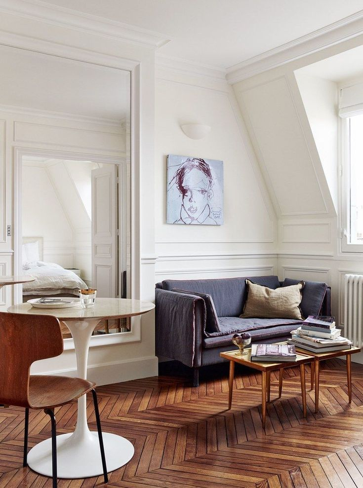 One Sofa Small Living Room Decor: Small Attic Space With Living And Dining Area. Saarinen