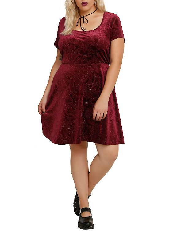 Burgundy Embossed Skull Dress Plus Size | Gothic/Punk/Grunge ...