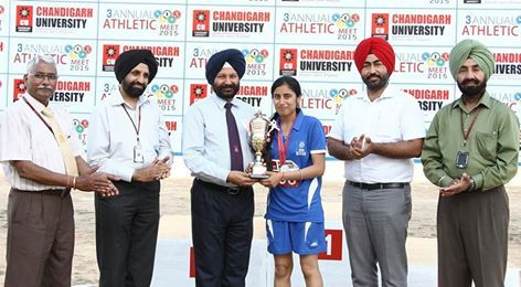 ‪‪#‎Sports‬ ‪#‎Meet‬ ‪#‎Day‬ of ‪#‎Chandigarh‬ ‪#‎University‬ - ‪#‎Highlights‬ Gaganjot Kaur, ‪#‎Computer‬ ‪#‎Science‬ ‪#‎Engineering‬ student won the Best Athlete 2015 award during the 3rd ‪#‎Annual‬ ‪#‎Athletic‬ #Meet 2015, ended to a colorful closing ceremony at the campus of Chandigarh University, Gharuan with the winners awarded with medals by Dr. B.S.Sohi, Pro-Vice Chancellor, Chandigarh University. Gaganjot won 2 Gold Medal & 2 Silver.