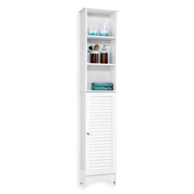 Louvre Bath Tall Cabinet In White Bedbathandbeyond Com Tall Cabinet White Bedding Bathroom Furniture