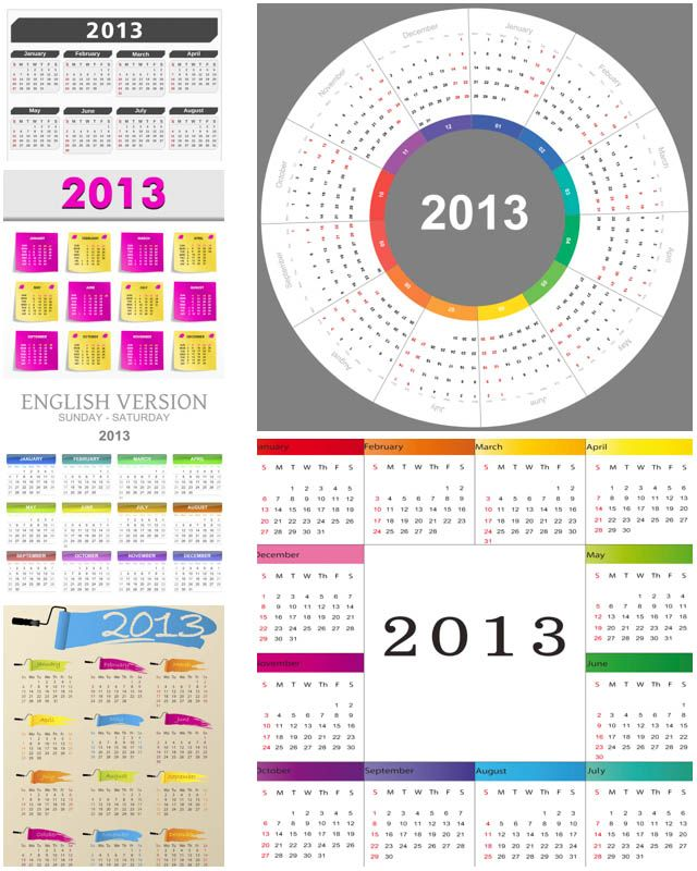 Different 2013 Calendar Templates Vector Free Vector Graphic