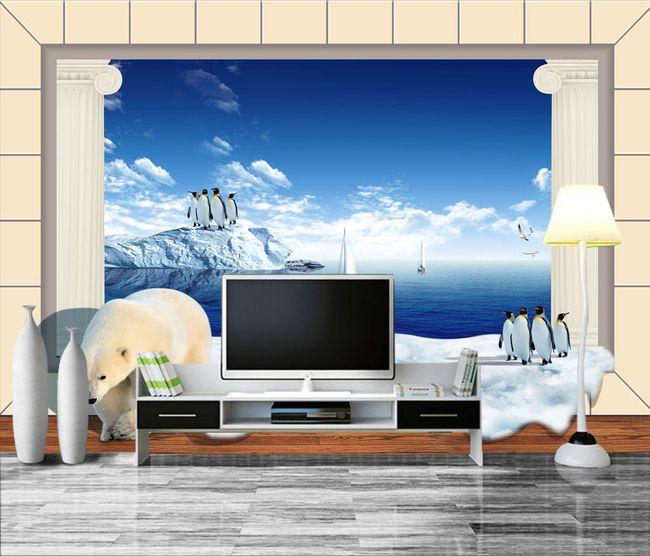 papier peint 3d sur mesure paysage polaire avec l 39 ours et les pingouins papier peint 3d. Black Bedroom Furniture Sets. Home Design Ideas