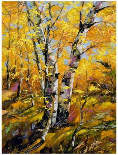 The Golden Birch Outdoor Wall Art features a giclee finish designed ...