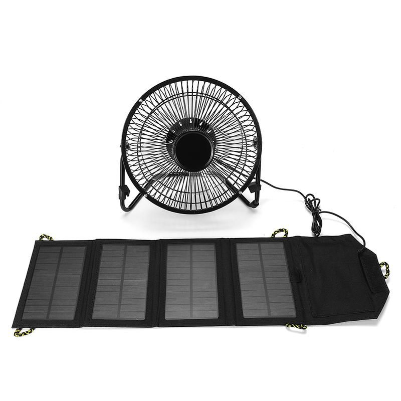4//6//8 Inch USB Solar Panel Iron Fan Powered For Outdoor Home Cooling Ventilation