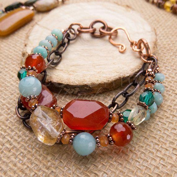 Photo of Carnelian and Amazonite Bracelet in Copper, Chunky Gemstone Bracelet, Bright Beaded Bracelet, Multi-strand Stone Jewelry