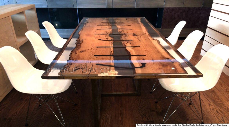 Tavolo in legno di bricola veneziana antichi chiodi e resina epossidica realizzato da azimut - Resina per mobili ...