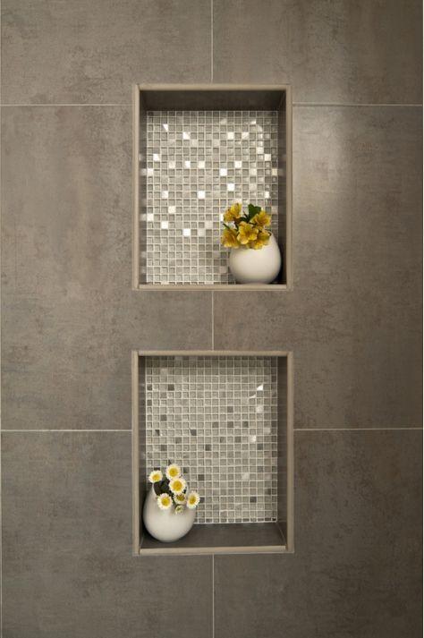 dusche nische fliesen anthrazit mit mosaik metallic effekt veredelt mosaik outfit. Black Bedroom Furniture Sets. Home Design Ideas