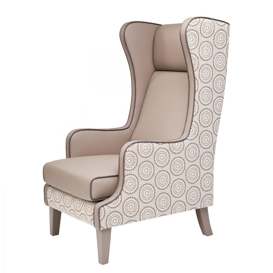 Ohrensessel Bicolore Ornament Kunstleder Beige Ohrensessel Sessel Stühle