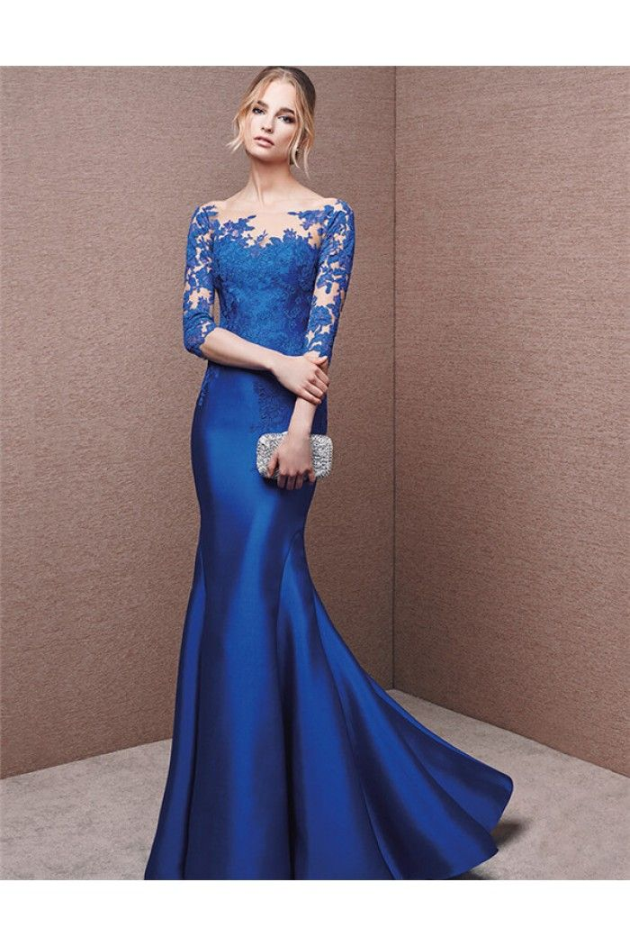 5488a93b052 Formal Mermaid Illusion Neckline Royal Blue Satin Lace Sleeve Evening Dress