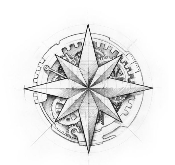 Compass Rose Coloring Page Steampunk Tattoo Design