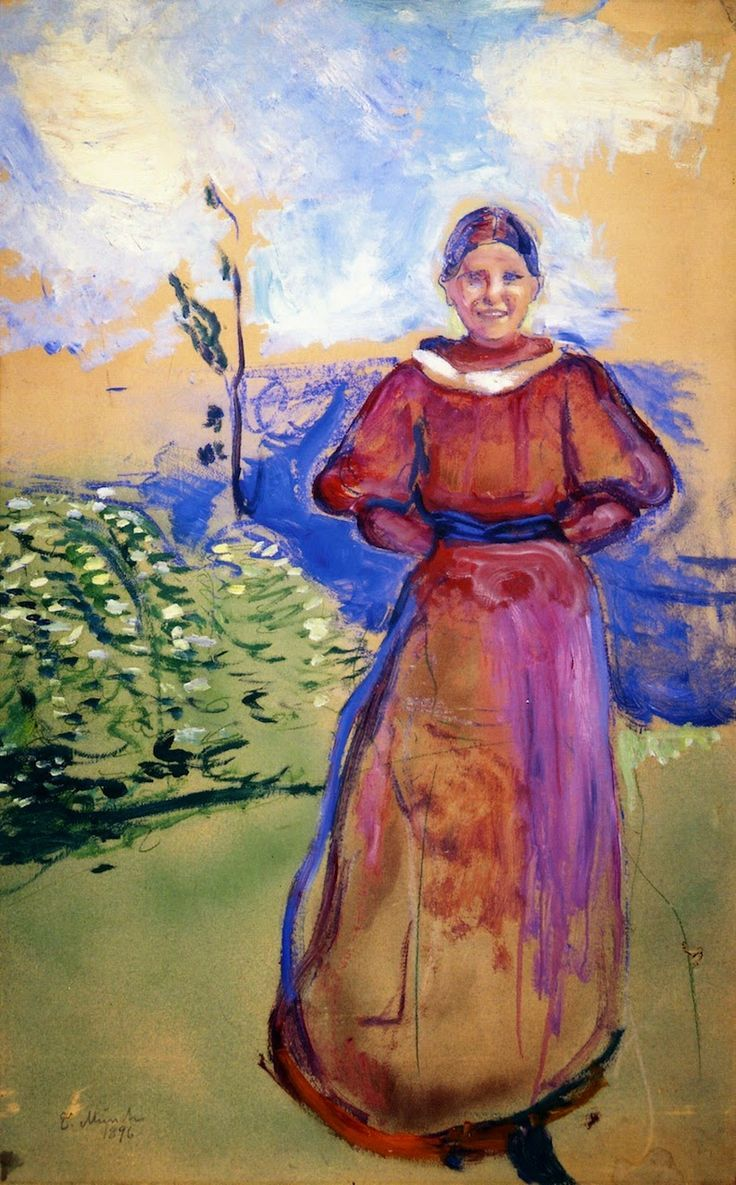Inter in a Red Dress.1894 by Edvard Munch