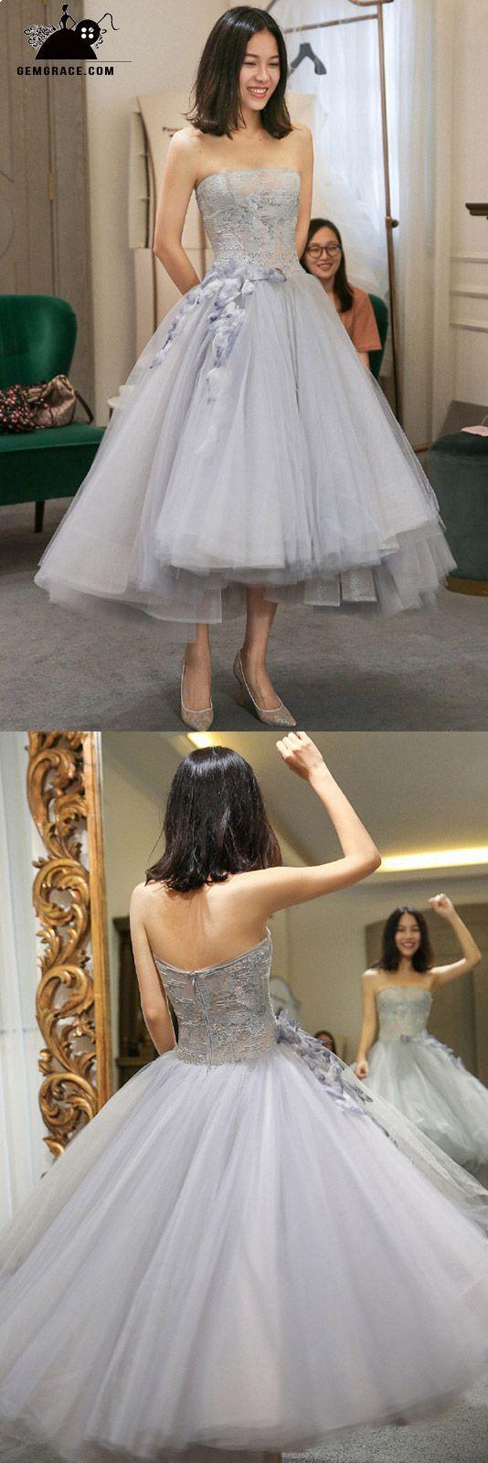 Wedding dresses tea length  High Low Grey Tulle Strapless Wedding Party Dress Tea Length with