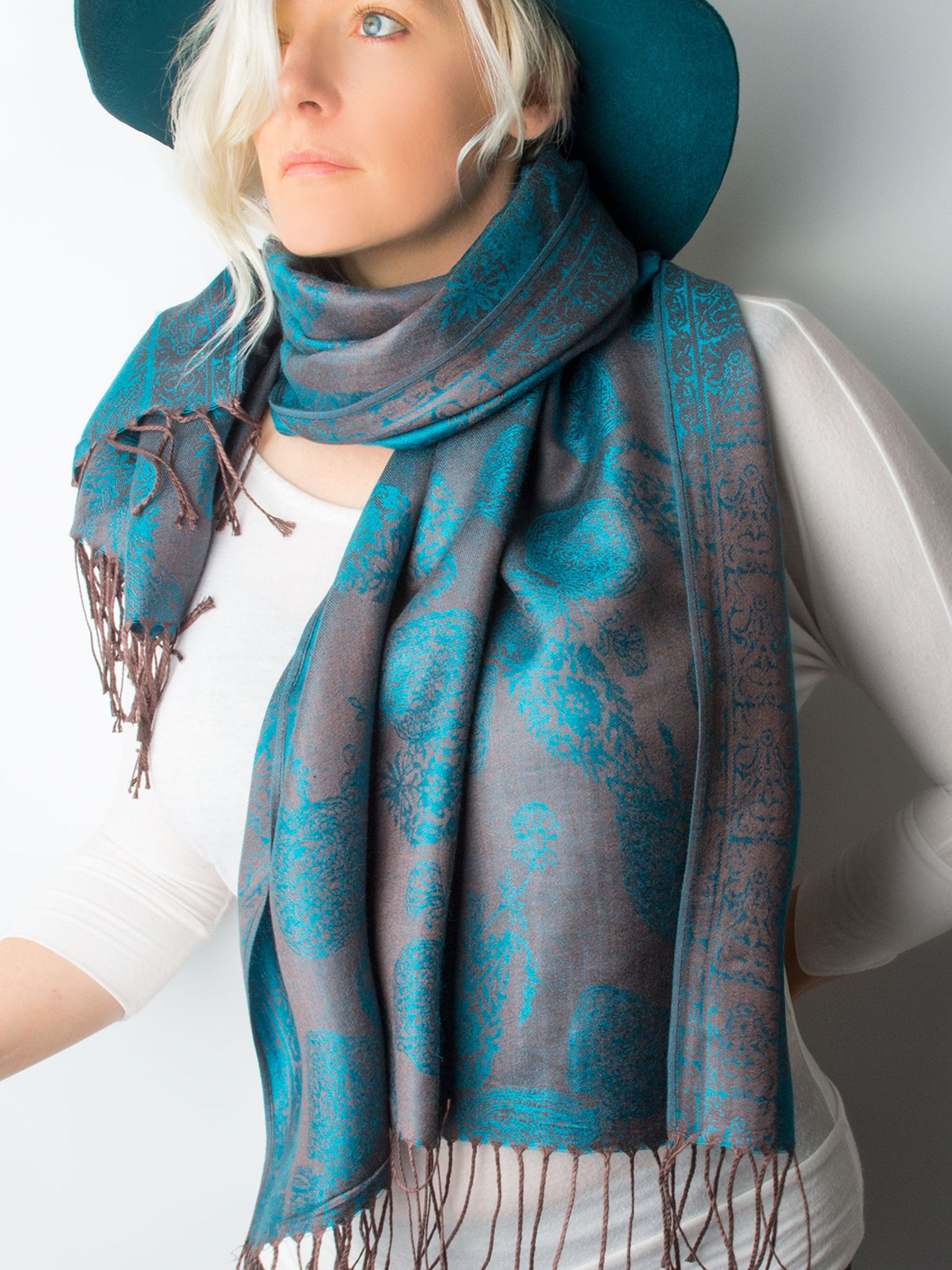 Scarves - Elana Reversible Teal & Brown Paisley Pashmina ...
