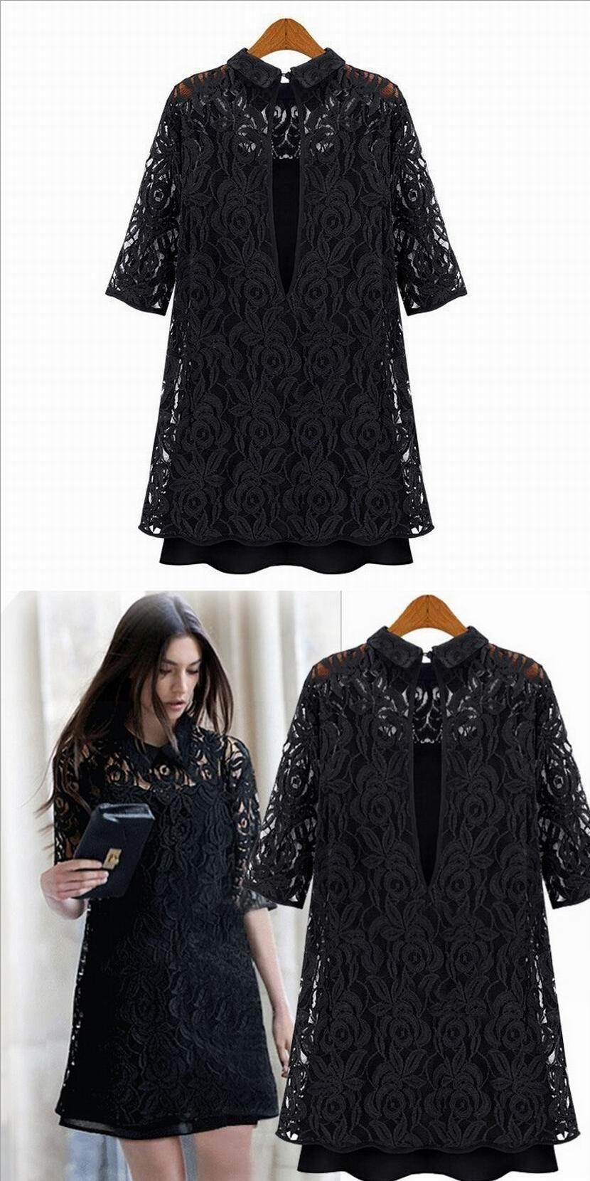 Summer Black Dress Women Plus Size Dress Office Fashion Lace Slim