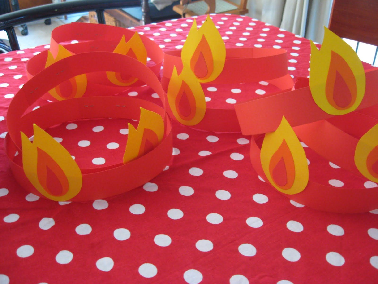 """Love these """"tongues of fire"""" party hats for Pentecost"""