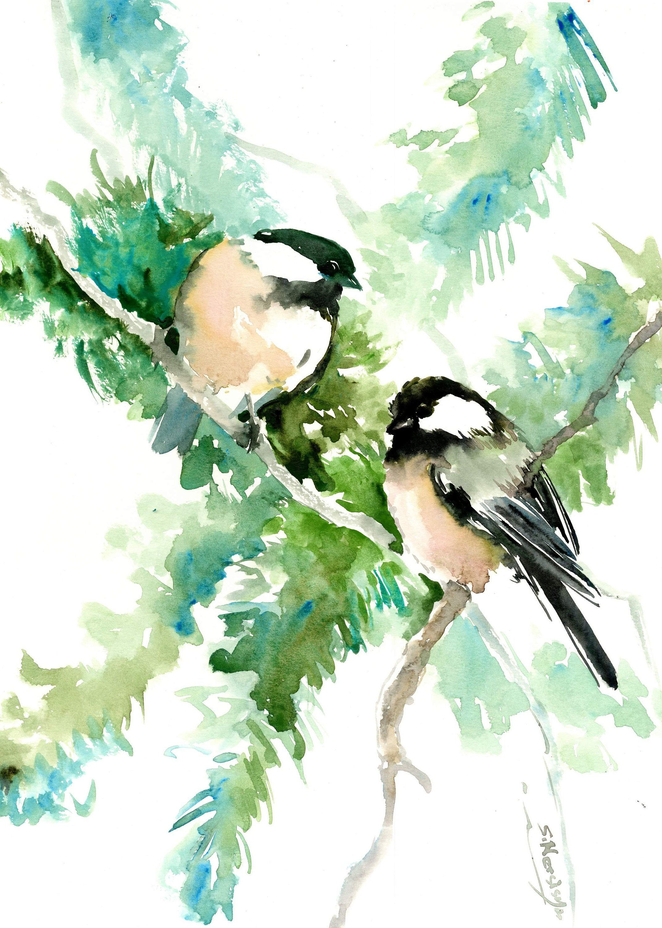 Birds And Flowers Chickadees And Pine Tree Original Watercolor