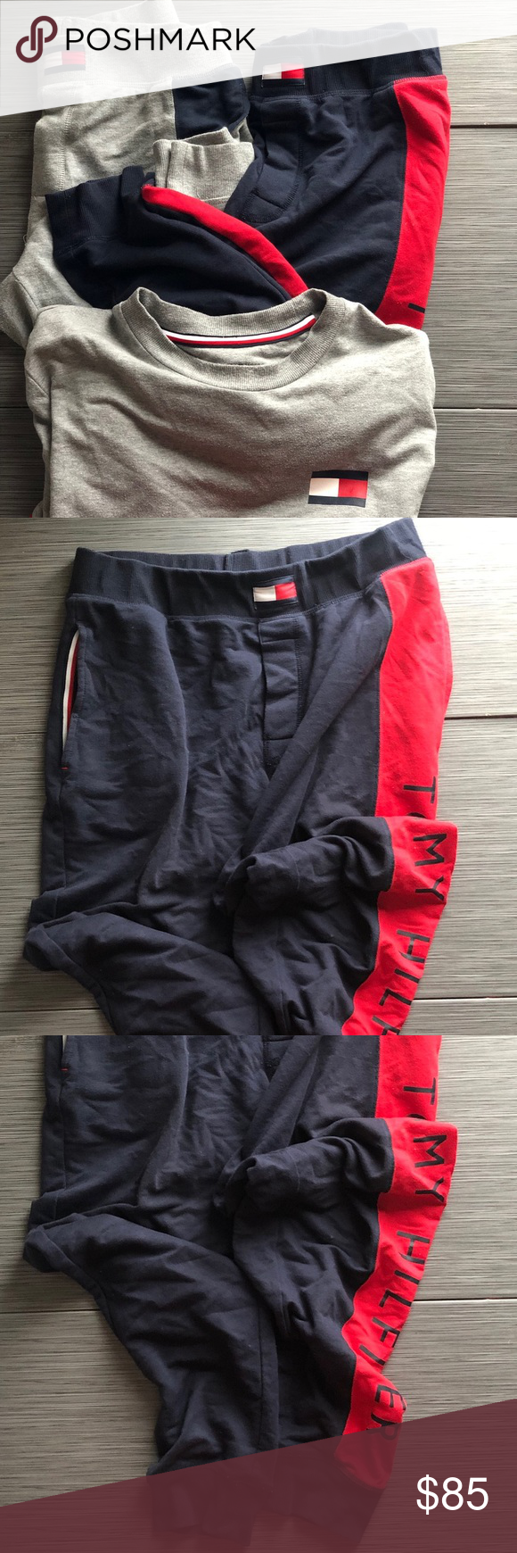 TOMMY HILFIGER BUNDLE of 2 SWEATS JOGGER PANTS Navy red jogger sweat  sz medium Grey sweat jogger  sz small fits like small and medium hastagsGucciLouisVuittonBagsBackpac...