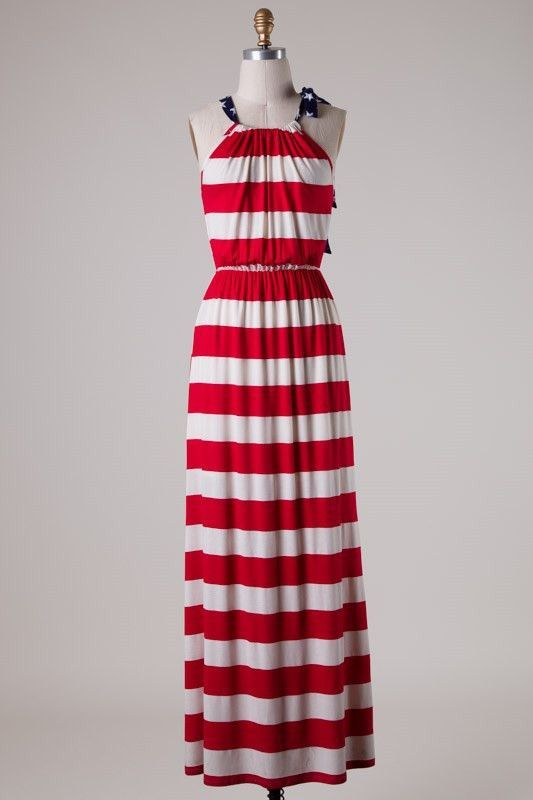American Lady Red White & Blue Maxi Dress – elle & k boutique