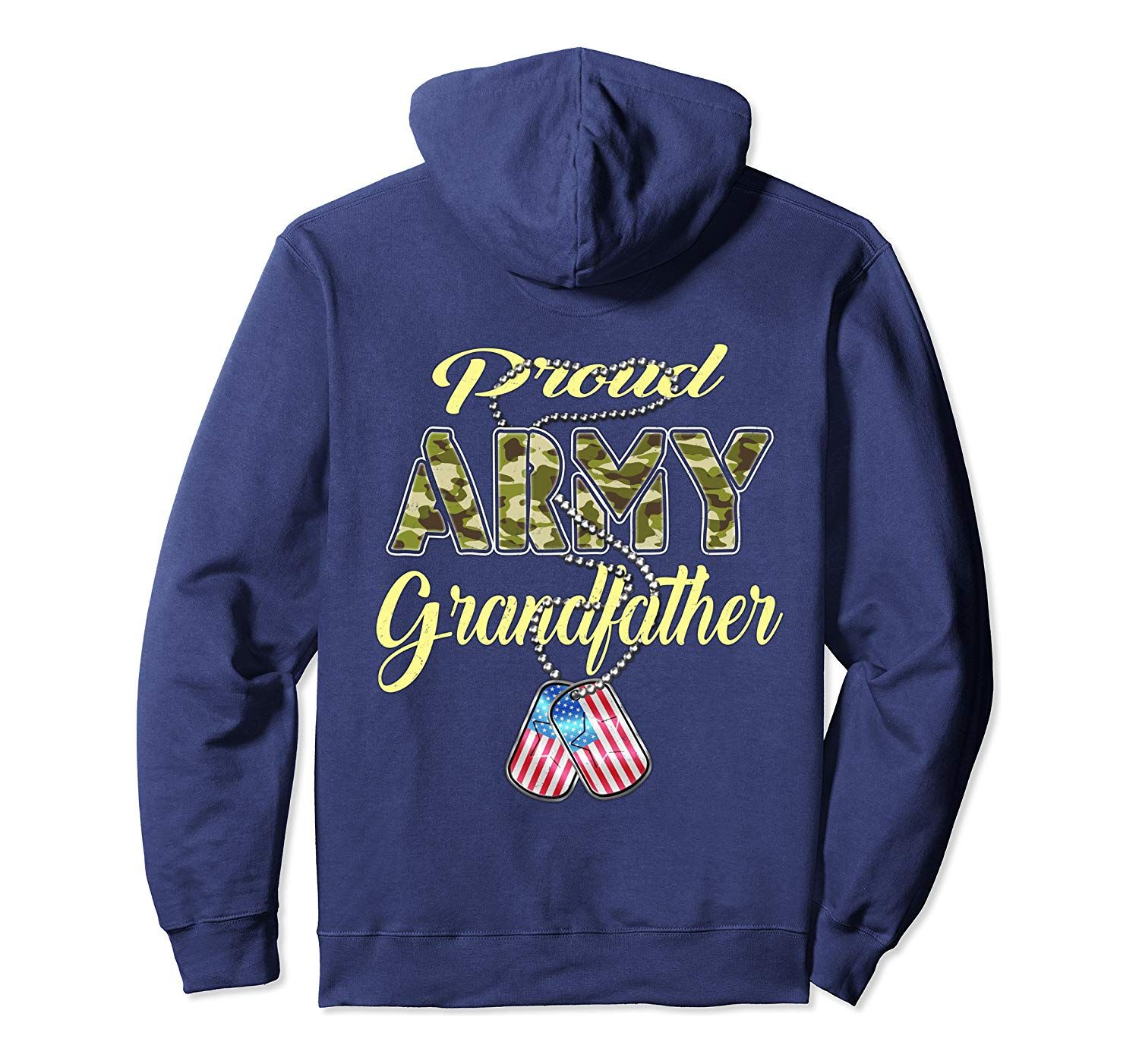 Proud Army Grandfather US Flag Dog Tag Military Grandpa Gift Pullover Hoodie #grandpagifts