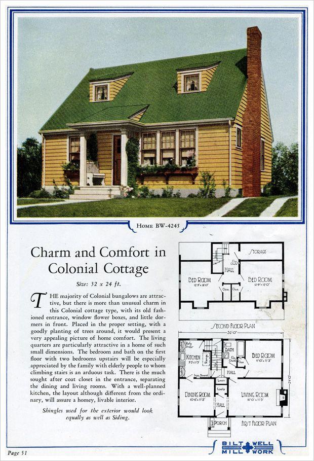 1924 Bilt Well Model 4245 Colonial Cape Cod Vintage House Plans