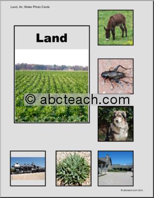 Photo Cards Land Air Water Set Montessori Montessori Jobs Weather Worksheets Air