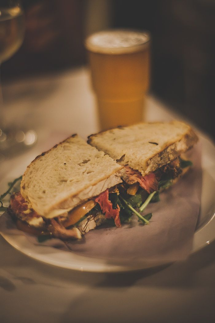 The Power and The Glory - Cape Town - South Africa - For the hungry, we recommend the roast beef sandwich, served between two fresh slices of sourdough and lathered with Dijon mustard.