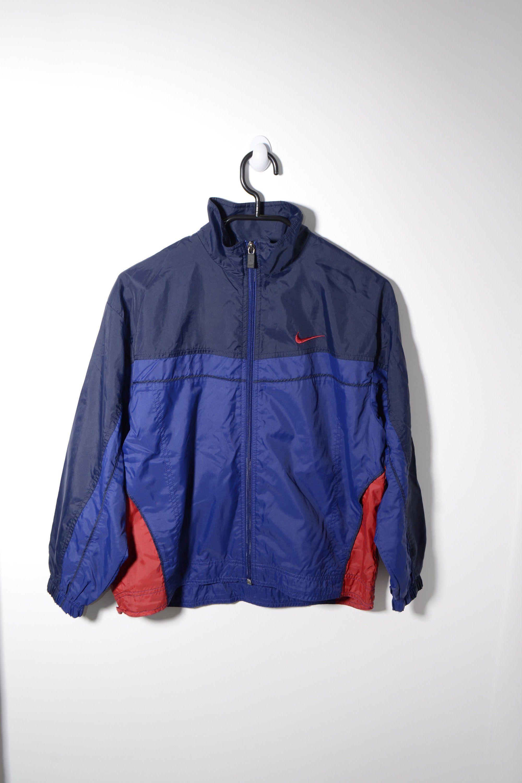 5b260ede68f8 NIKE vintage sport jacket for kids boy girl children   Blue colour jumper  full zip 90's tracksuit top track jacket windbreaker   Size Medium