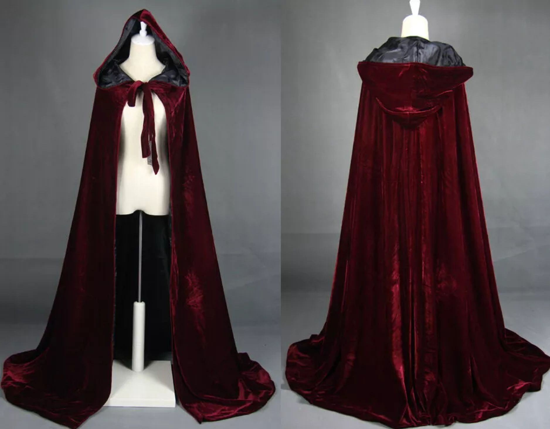 Halloween Unisex Hooded Velvet Cloak Robe Medieval Witchcraft Cape Robe Costume