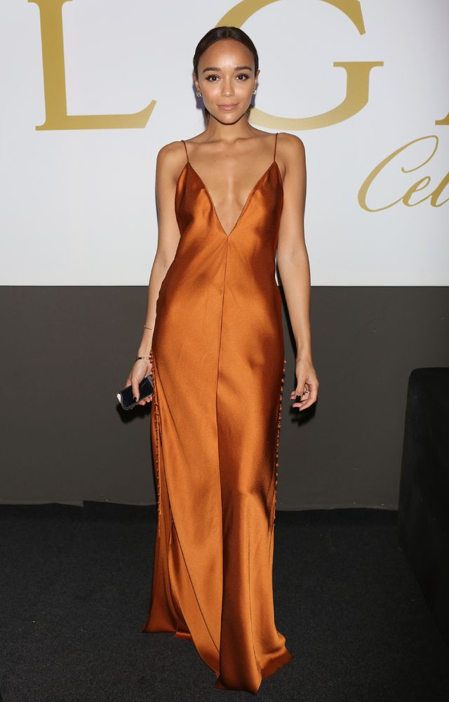 f6d92df5a8999 Ashley Madekwe is a bronze goddess in this Free People maxi dress ...