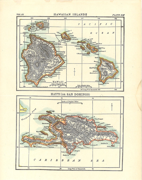 photograph about Printable Map of Hawaiian Islands named aged map of Hawaiian Islands #printablemaps #antiquemaps