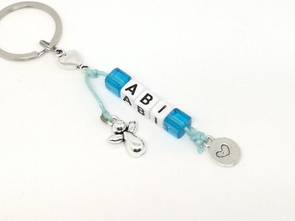 Schlüsselanhänger Schutzengelchen beige für beste Freunde mit Grußkarte Geschenk
