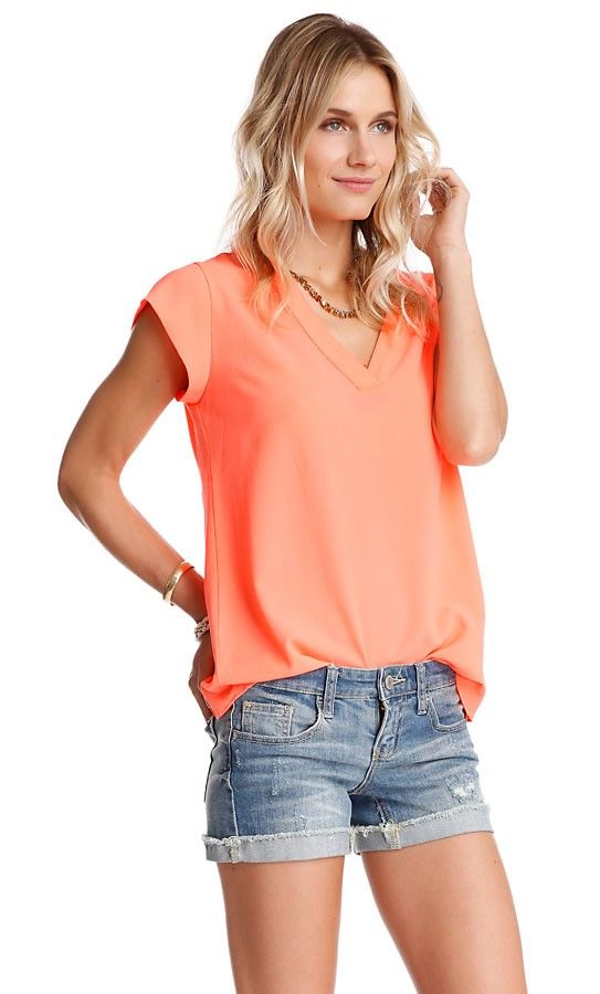 Relaxed and Refined Blouse, size large, orange.