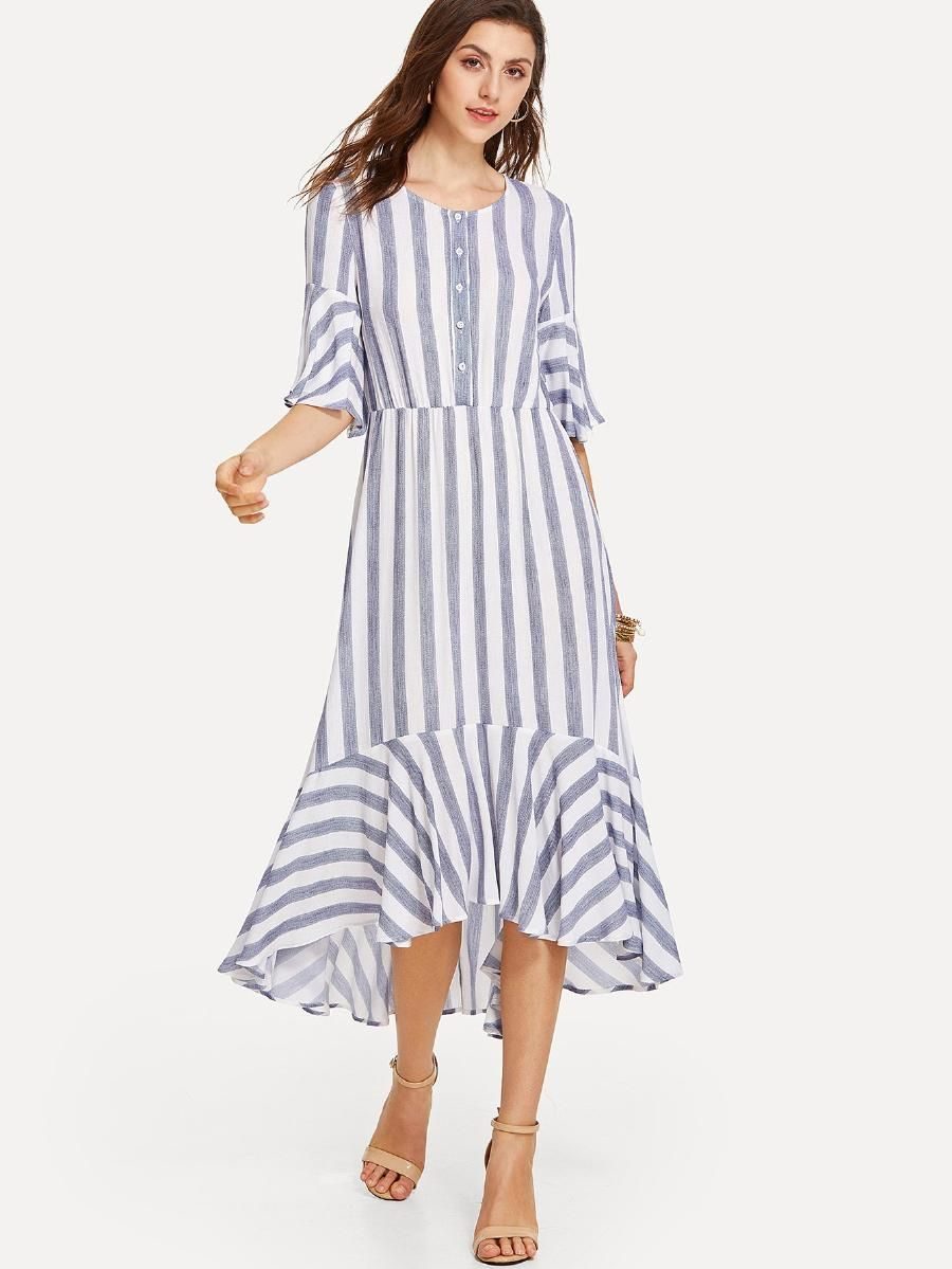 84096e7224 Half Placket Bell Sleeve Striped Dress -SheIn(Sheinside) | Style ...