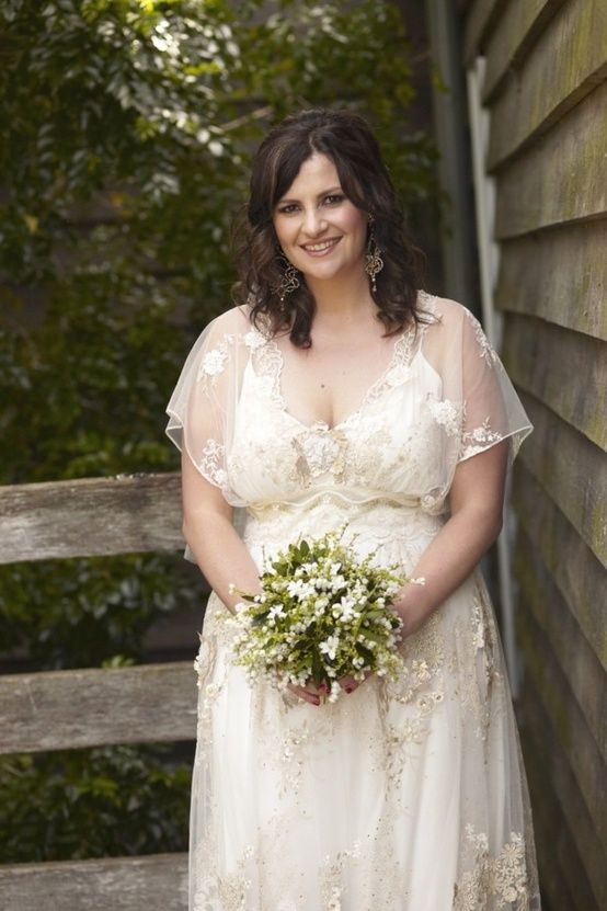 Plus Size Bride Wearing A Romantic Lace Wedding Dress By Claire