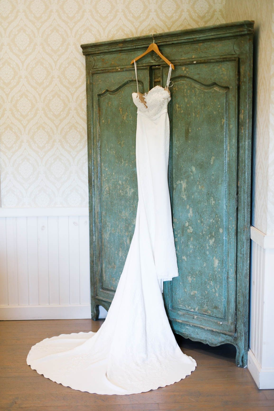Strapless white lace wedding gown at Pippin Hill Farm & Vineyards ...