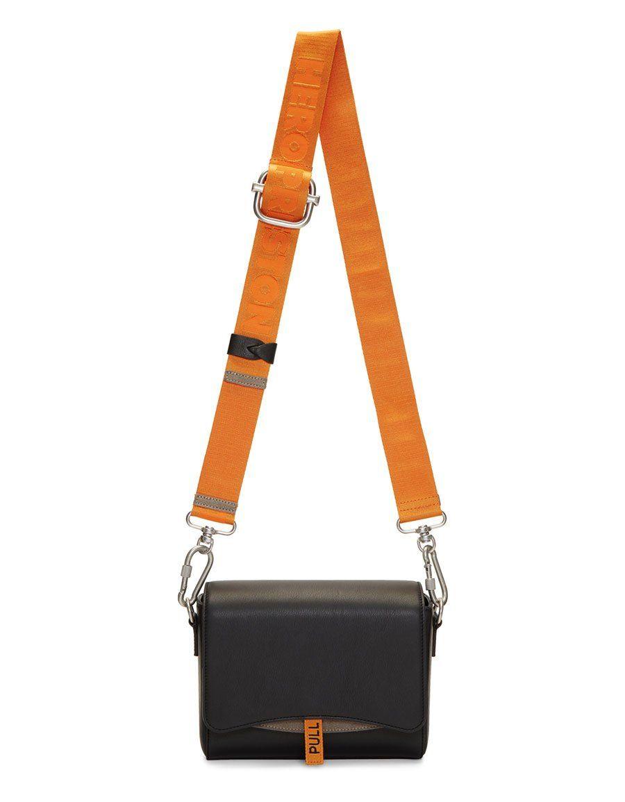 446fb50e61 h3>HERON PRESTON</h3> Black & Orange Leather Flap Bag | Accessories ...