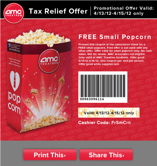 photograph relating to Pop Tarts Coupons Printable identified as Free of charge little popcorn at AMC this weekend (4/13/12 - 4/15/12