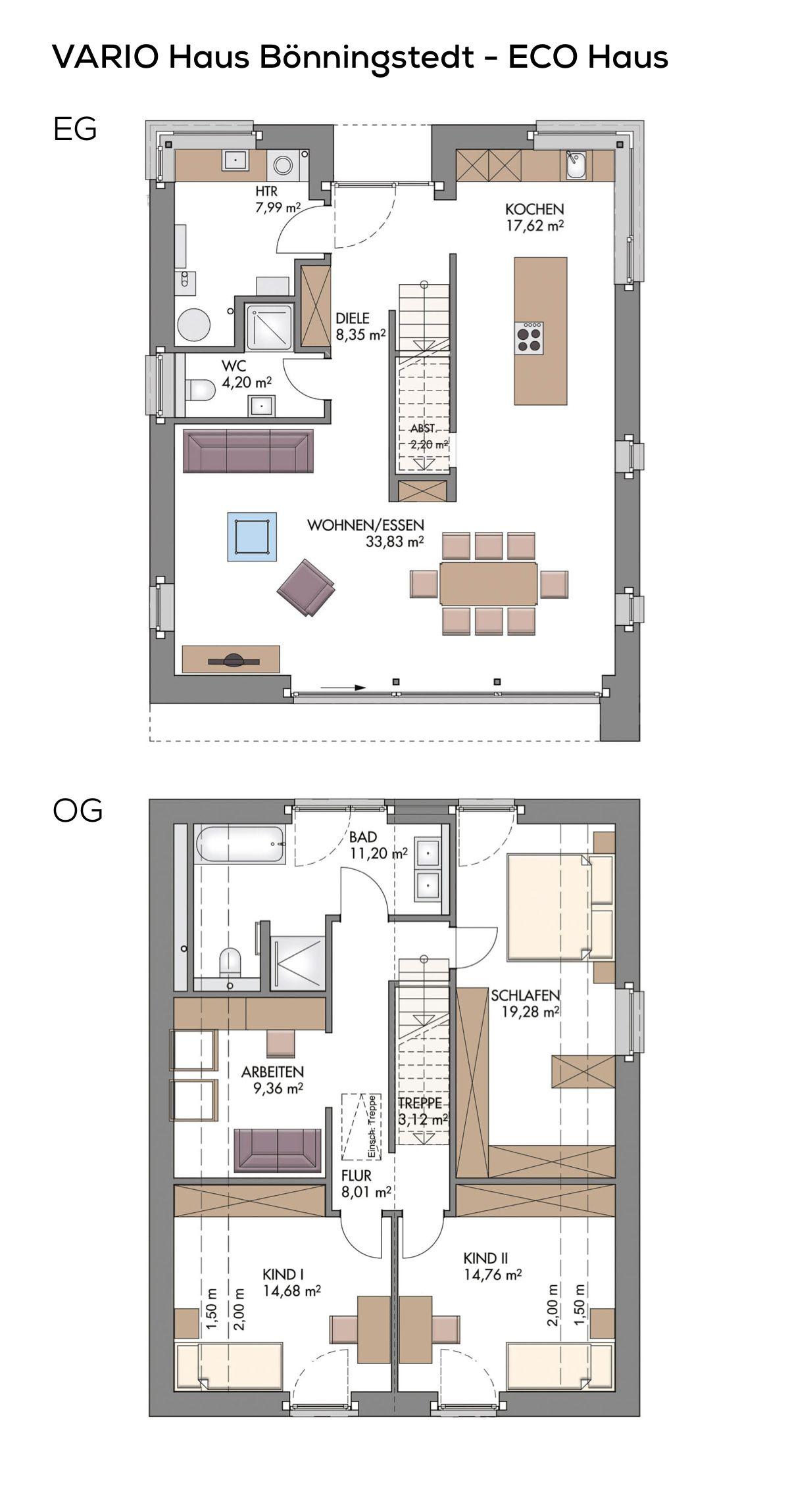 Grundriss Einfamilienhaus modern mit Klinker Fassade & Satteldach ...