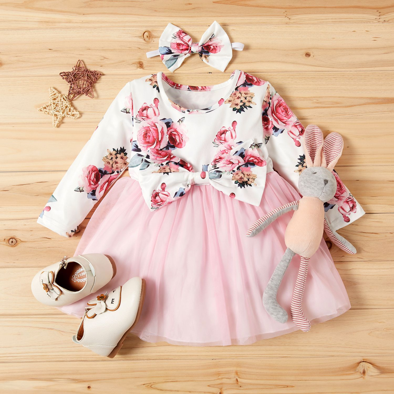 USA Toddler Kids Baby Girl Bowknot Princess Denim Tulle Tutu Party Dress Clothes
