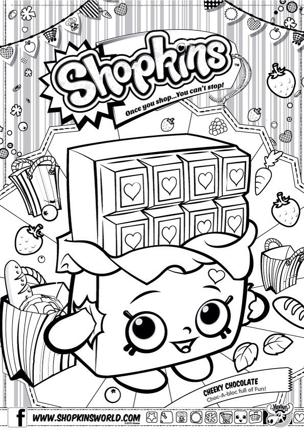Shopkins Colour Color Page Cheeky Chocolate Shopkinsworld Shopkins Colouring Pages Shopkins Birthday Party Shopkin Coloring Pages