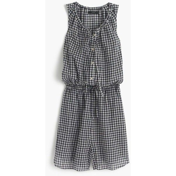 J.Crew Gingham Romper ($94) ❤ liked on Polyvore featuring jumpsuits, rompers, beach romper, j crew romper, playsuit romper and beach rompers