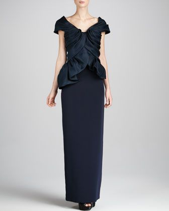 Structured-Top Combo Dress, Navy by Marchesa Couture at Neiman Marcus.
