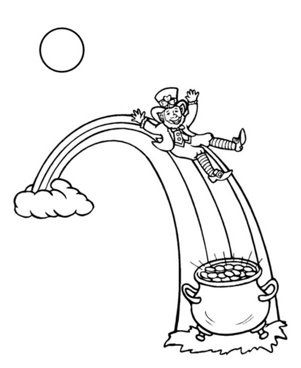 This Leprechaun Sliding Onto A Pot Of Gold Coloring Page Download Print Online Coloring Pa Online Coloring Pages Coloring Pages Memorial Day Coloring Pages