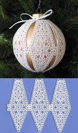 Cubierta floral del ornamento del bulbo de 4 pulgadas (encaje)