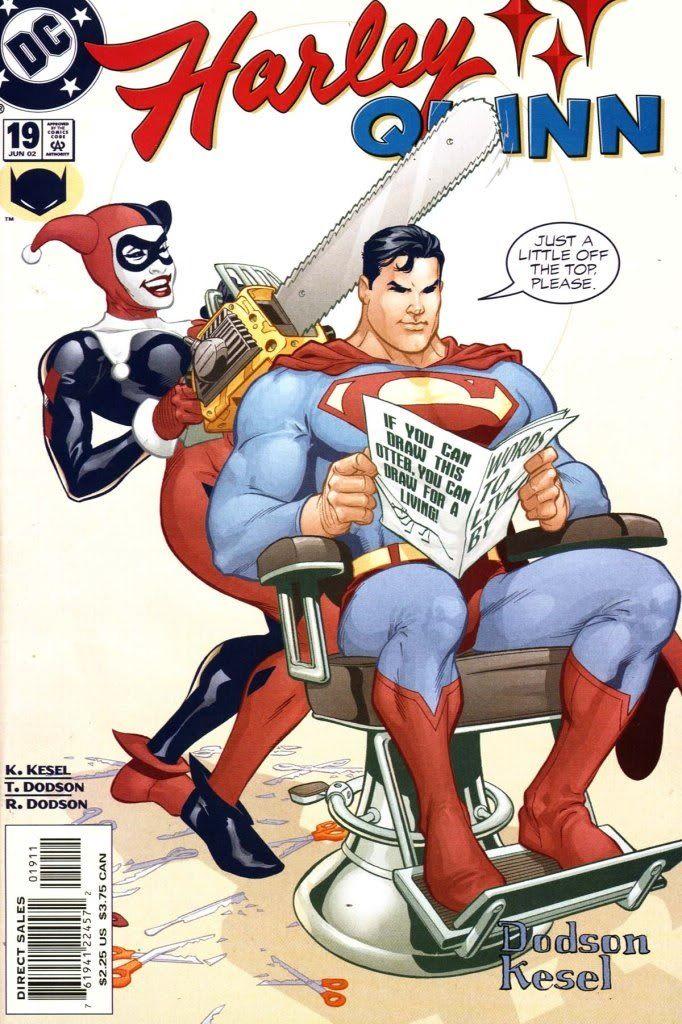 Harley Quinn Gives Superman A Haircutwith A Chainsawems