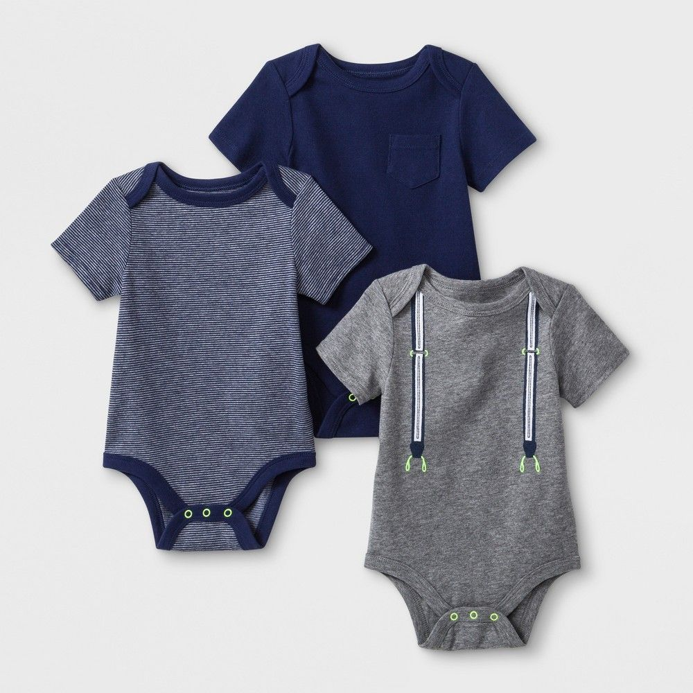 781c9661b3a4 Baby Boys' 3pk Critter Design Short Sleeve Bodysuits - Cat & Jack  White/Gray Newborn