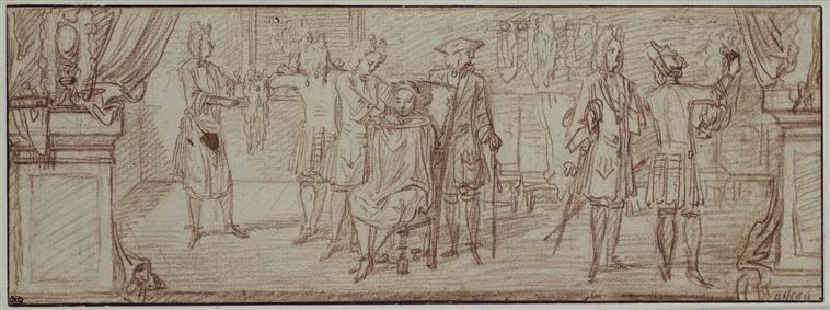Antoine Watteau, 'Une boutique de barbier', vers 1709. Probablement une étude pour une enseigne.