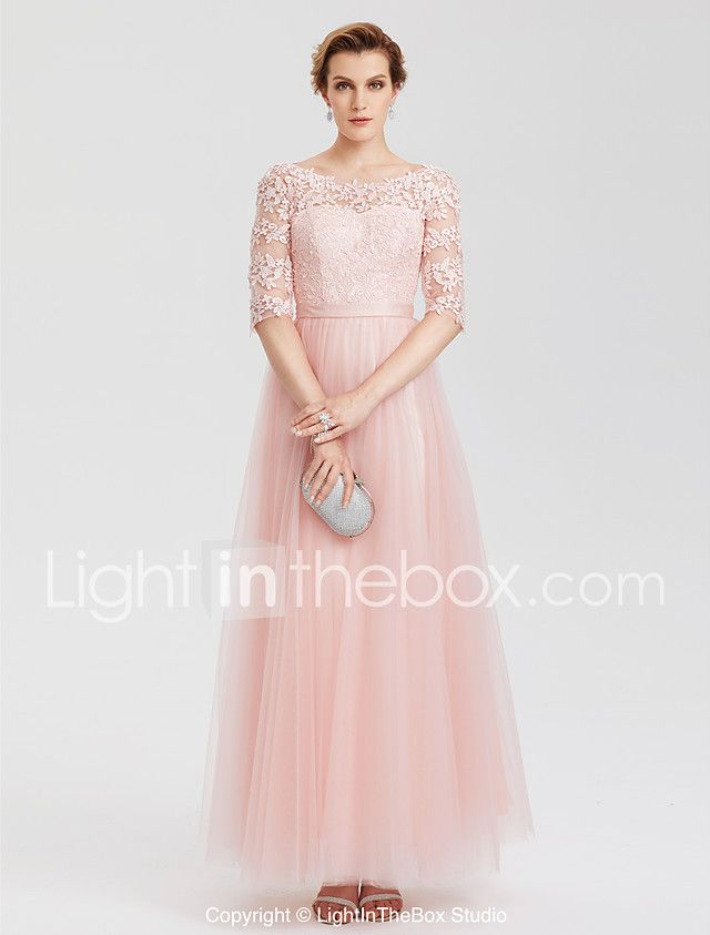 A-Line Illusion Neckline Floor Length Lace Over Tulle Evening Party ...