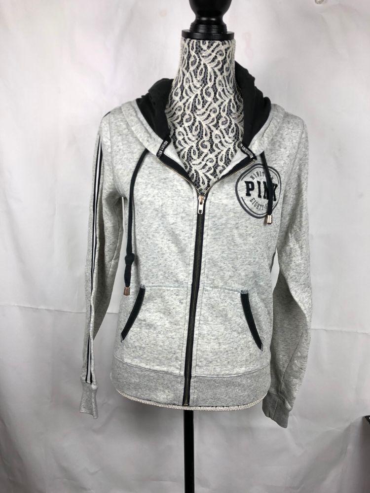 4b87c2c9e Victoria's Secret Pink Women's Hoodie Size S Gray Black Full Zipper Pockets  50 #VictoriasSecretPINK #FullZipHoodie