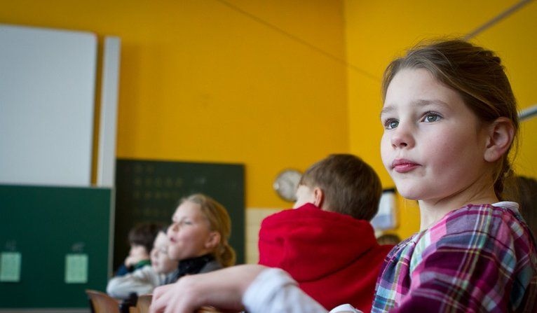 Students in the fourth grade at an elementary school in Essen, Germany. Next year the students will get sorted into one of three educational tracks.